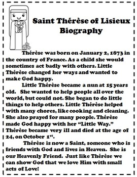 Catholic Biography Language Arts Activities Saint Therese of Lisieux