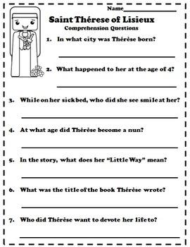 Catholic Biography Language Arts Activities Saint Therese of Lisieux