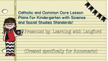 Catholic/CC Standards Lesson Plans (Drop Down Box Template) Kindergarten