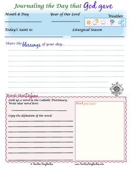 Catholic Child's Daily Journaling Pages