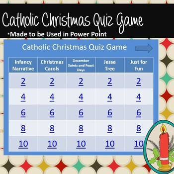 Catholic Christmas Quiz Game Grades 6 and Above