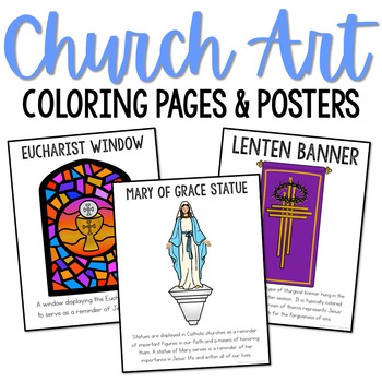 Catholic Church Art Posters, Coloring Pages, and Mini Book Set, CCD