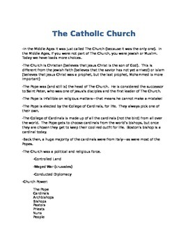 Catholic Church Info Sheet