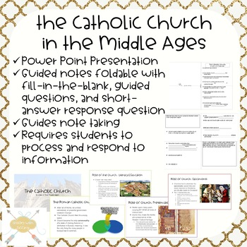 Catholic Church in the Middle Ages   ppt and guided notes foldable