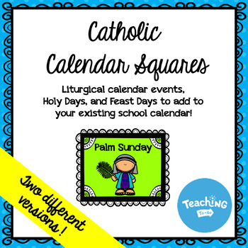 Catholic Classroom Calendar Squares