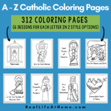 Catholic Coloring Pages Bundle for Letters A - Z