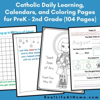 Catholic Daily Learning Notebook and Calendar Packet