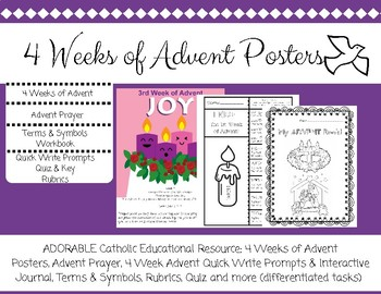Catholic Education Advent 4 weeks Posters and Workbooks, rubric, prompts, quiz