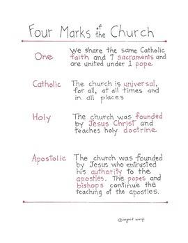 Catholic -Four Marks of the... by Ingrid's Art | Teachers Pay Teachers
