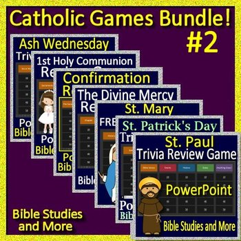 Catholic Games Bundle #2 -  7 PowerPoint Jeopardy Style Review Games Catholic