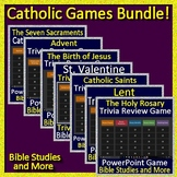 Catholic Games Bundle -  7 PowerPoint Jeopardy Style Review Games for Catholics