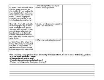 Catholic Inquisition Primary Source Worksheet