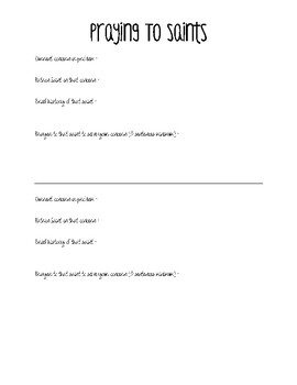 Catholic Intercessory Prayer Worksheet