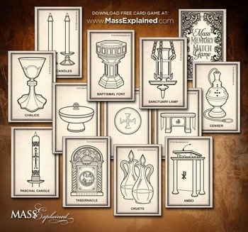 photo about Make Your Own Matching Game Printable identified as Catholic Lesson and Artwork Craft Printable Game: MASS