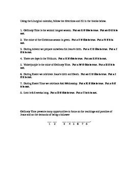 Catholic Liturgical Calendar review sheet