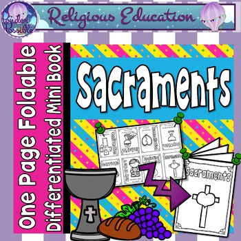 Catholic Mini Book - Sacraments {One Page Foldable}