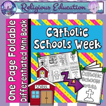 Catholic Mini Book - Catholic Schools Week {One Page Foldable}