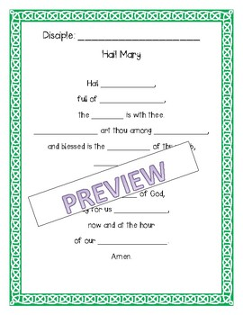 Catholic Prayer Activities - The Glory Be, Our Father, and Hail Mary