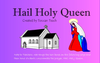 Catholic Prayer Hail Holy Queen SMARTBoard Activites