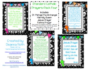 Catholic Prayer Posters--Pack Four