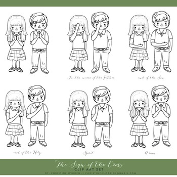Catholic Prayer - Sign of the Cross Clip Art Set