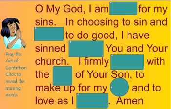 Catholic Prayer The Act of Contrition SMARTBoard Activities