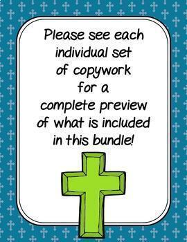Catholic Prayers Copywork in Cursive and Print BUNDLE