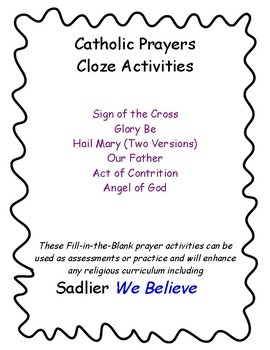 Catholic Prayers Fill-In-The-Blank Activities