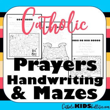 Catholic Prayers Handwriting and Mazes
