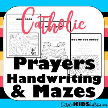 Catholic Prayers Handwriting and Mazes
