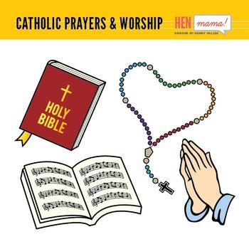 Catholic Prayers & Worship Clip Art Set
