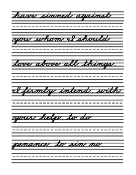 Catholic Prayers Zaner Bloser Cursive Handwriting Practice and Assessment