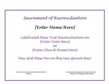 Catholic Reconciliation Certificate