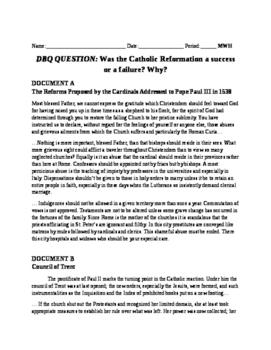 Catholic Reformation DBQ