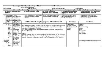 Catholic Religious Studies Planning UK 5th Grade Advent Baptism Lent