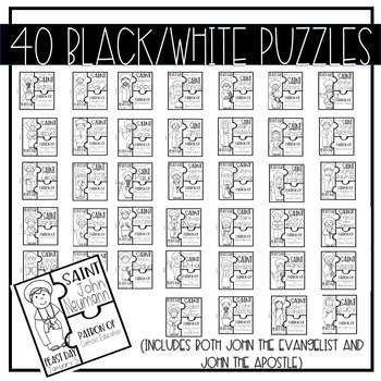 Catholic Saint 3-Piece Puzzles Set One {39 Saints Included}