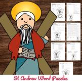 Catholic Saint Word Puzzles - No Prep Activity - St Andrew