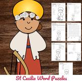 Catholic Saint Word Puzzles - No Prep Activity - St Cecilia