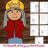 Catholic Saint Word Puzzles - No Prep Activity - St Elizab