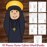 Catholic Saint Word Puzzles - No Prep Activity - St France