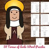 Catholic Saint Word Puzzles - No Prep Activity - St Teresa