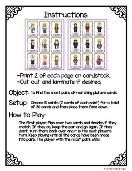 Catholic Saints Memory Card Game