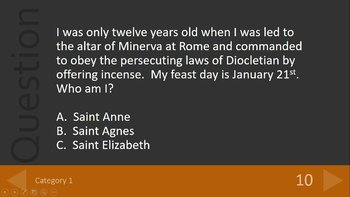 Catholic Saints Trivia Review Game