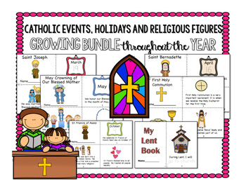 Catholic School Events, Holidays, and Religious Figures YEAR LONG GROWING BUNDLE