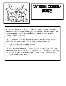 Catholic Schools Rock!!!  Catholic Schools Week Craft and Writing