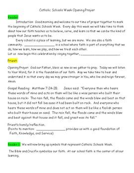 Catholic Schools Week Opening Prayer