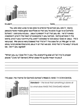 Catholic School's Week - Raising the Standards-  Teaching Packet