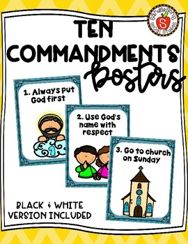 Catholic Ten Commandment Posters Color Pages For Kids Tpt