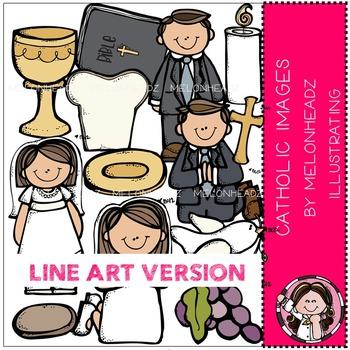 Melonheadz: Catholic clip art - LINE ART