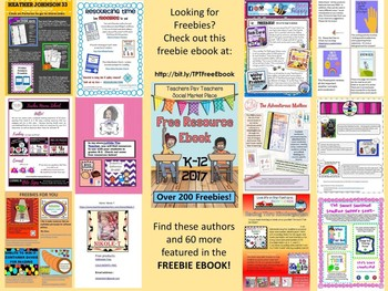 Cathy's Cool Creations Freebies Page from the TPT Social Marketplace Ebook